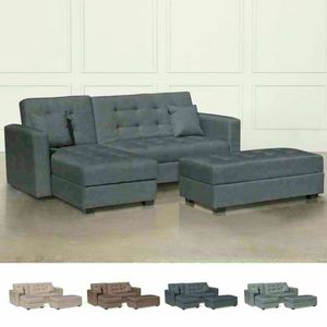 Sofá cama Ready 3 plazas de cuero sintético cama económica TOPAZIO, Contenedor sofá cama con península