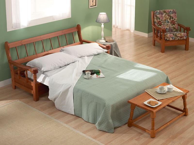 Vienna Sofa Bed, Sofá cama en madera en estilo rústico, para la casa de la granja