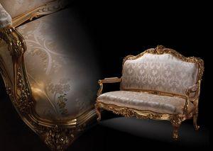 1008 Sofa, Sofá de estilo clásico, con marco de madera dorada