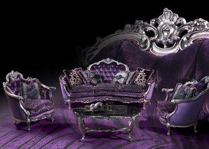 220 Sofa, Sofá con acabados de plata, estilo Luis XV