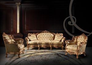 255 Sofa, Sofá tapizado acolchado con 3 plazas, sala de estar clásica