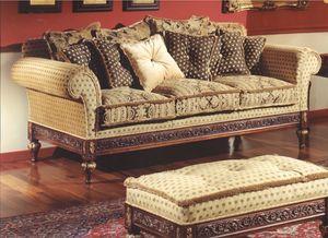 3150 Sofá, Sofá de tres plazas para salas de estar de estilo clásico.