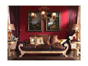 3470 SOFA, Sofá de 3 plazas, estilo Imperio, de salón clásico