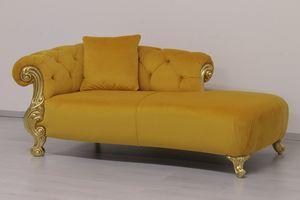 Oceano Tela dormeuse, Diván de estilo barroco, con acabados en oro y plata