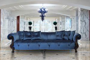 Oceano tela 4 plazas, Sofá de 4 plazas con acabado de oro, estilo clásico de lujo