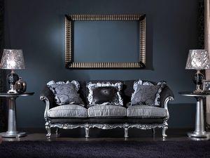 715 SOFA, 3 plazas sofá, estilo clásico de lujo tallado a mano
