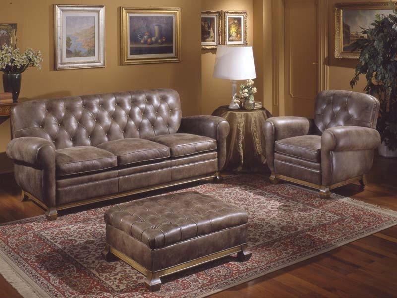 Albas Sofa, Sofá de estilo, cubierta en cuero, almohadas de plumas de ganso