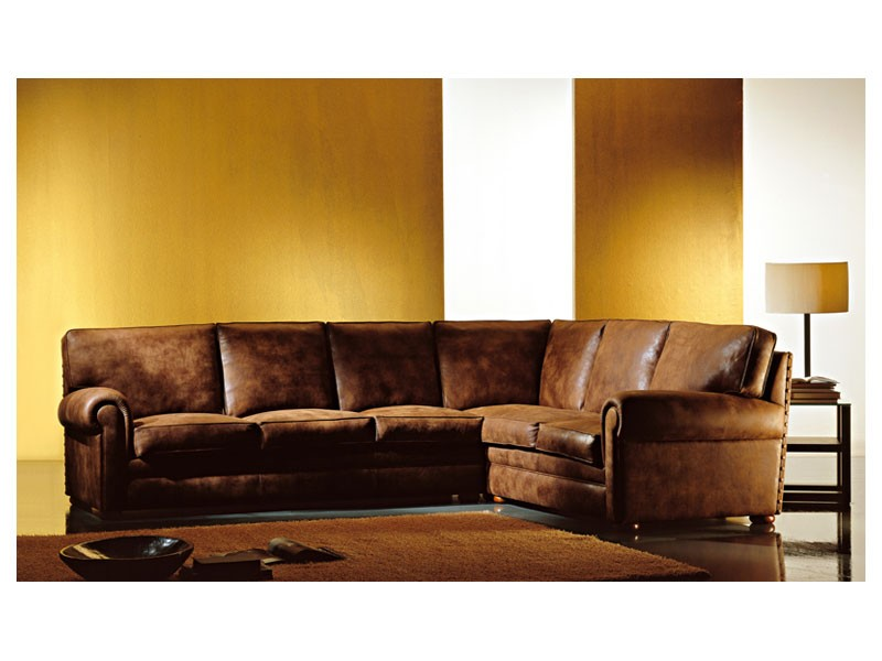 Angular Oregon, Esquina sofá cubierto de tela, de estilo clásico