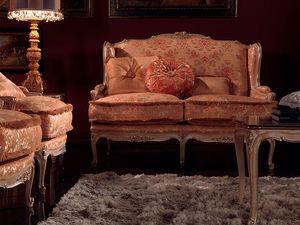 Anna sofa, Sofá tapizado, acabado lacado, la decoración de hojas de plata
