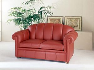 Antony Sofa, Sofá de cuero rojo, para hotel de estilo clásico