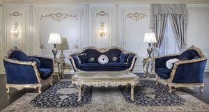Art. EM/203 Empire, Sofá barroco tallado con detalles de plata