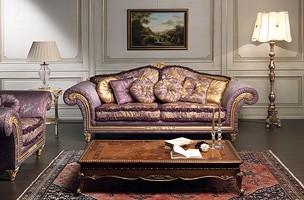 Art. IM 23 Imperial, Sofá de lujo, que se caracteriza por la artesanía tallada molduras con baroqe y oro hojas