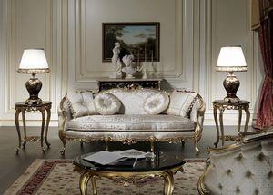 Art. VE/203 Sofá Venezia, Sofá de lujo, estilo Luis XV, con tallas preciosas