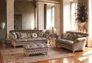 Astrid, Sofá de 3 plazas para el clásico salón, acabados de hoja de plata