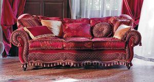 Botticelli, Sofá tapizado, líneas sinuosas, de estilo clásico