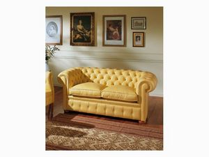 Chester, Abotonado sofá, de lujo clásico salón, en piel