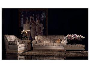 Cinzia sofa, Sofá copetudo, estilo clásico de lujo, varias medidas