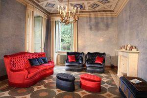 Club, Sofá con tapicería acolchada, estilo clásico de lujo