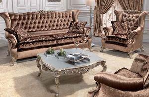 Corona, Sofá clásico de lujo para salas de estar, con 2 asientos