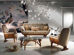 DI01 Confort, Sofá de madera, acolchado, de lujo cómodo, clásico
