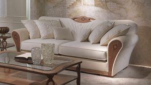 DI36 Charme sofá, Mullido sofá de madera para habitaciones de lujo de vida