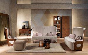 DI38 Galileo sofá, Sofá con estructura de madera de nogal, tapizado, para la casa