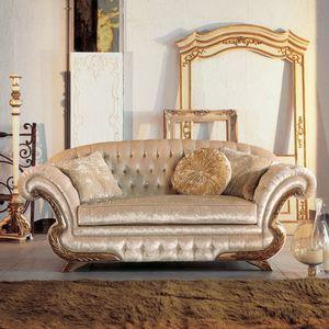 Diletta, Lujo clásico sofá, marco con acabado en pan de oro