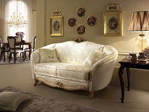 Donatello sofá, Sofá de estilo neoclásico, decoraciones en madera tallada a mano, para sala de estar