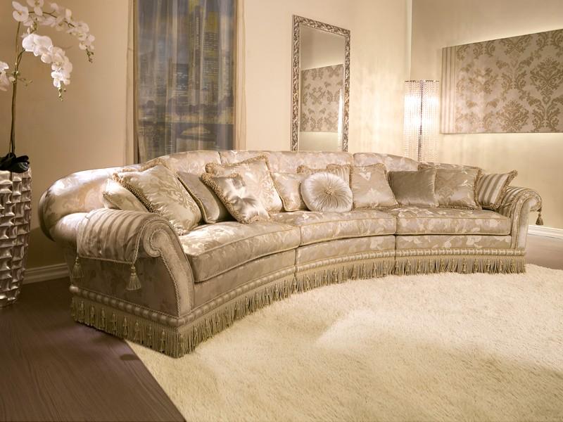 Glicine Ring, Sofá semicircular tapizar, para los salones de estilo clásico