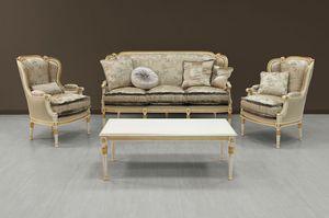 Guttuso sofá, Sofá de lujo blanco pintado con adornos de oro
