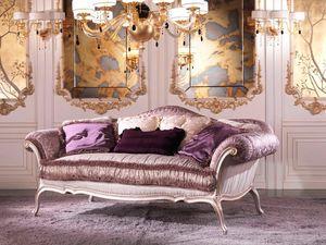 Julia, Sofá de lujo cubierto de pluma, en madera de color lila