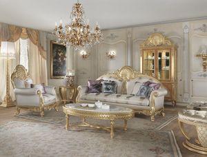 Lario sofá, Sofá de estilo clásico con adornos de encaje.
