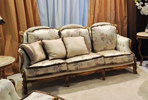 Liberty sofá de 3 plazas, Tallado sofá lado clásico, en madera de nogal con oro