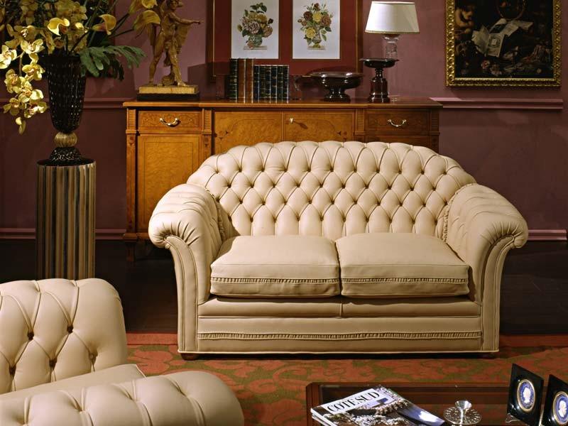 Lloyd Sofa, Sofá clásico de lujo, el relleno acolchado, de cuero