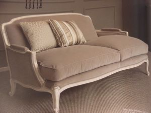 Louis, Sofá de 2 plazas, acabado lacado clásico, para sala de estar