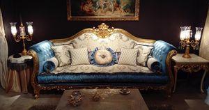 Ludovica, Sofá lujoso con preciosas tallas hechas a mano
