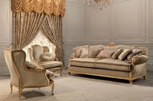 Luxury, 2 plazas sofá clásico, acabado pan de oro, para sala de estar