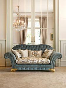 Margot, Sofá clásico, respaldo acolchado, adornos de conchas