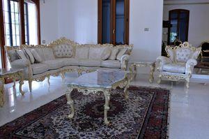 Maria sofá de esquina de tela, Sofá barroco adecuado para hoteles y villas