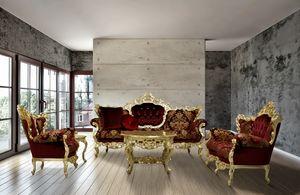 Maria tela sala de estar, Mano tallada sofá tapizado con telas finas