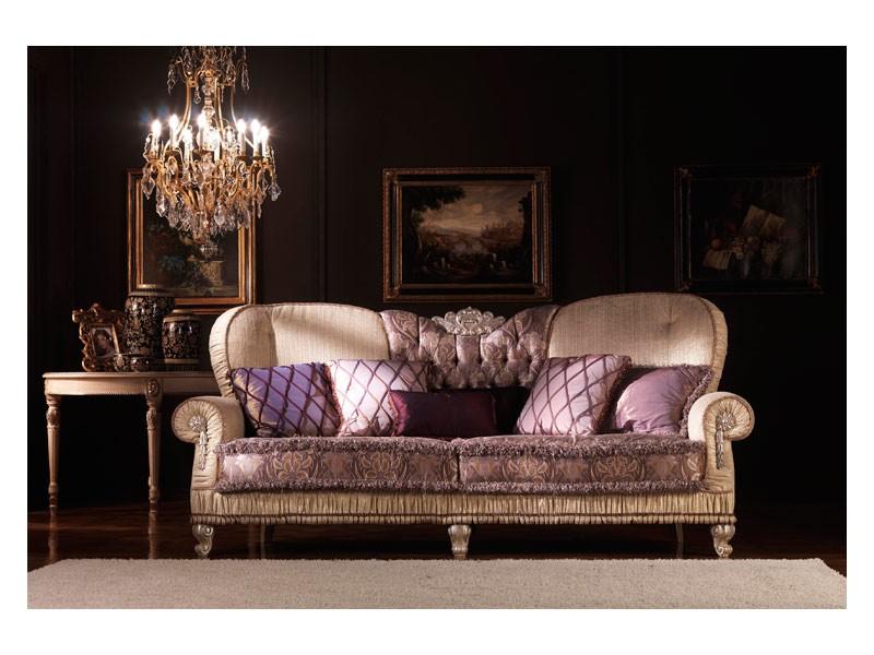 Marina, Sofá clásico, acolchado, cubierto de seda, para salón