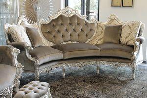 Marsiglia sofá curvo, Sofá curvado en estilo barroco, tallado en madera de haya