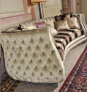 Michelle, Sofá acolchado tapizado en estilo clásico y lujoso