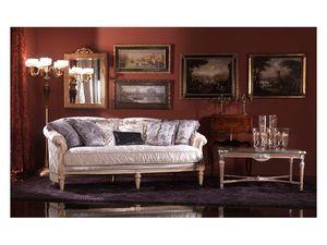 Nadia, Sofá de estilo francés, tapizado en seda, estilo clásico