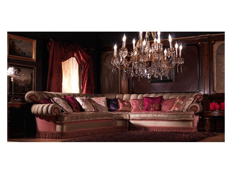 Nathalia Angular, Sofá de la esquina, cubierto de seda, estilo clásico de lujo