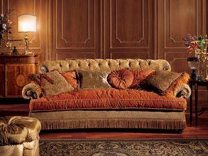 Nathalia sofa, Sofá con respaldo acolchado, de estilo clásico