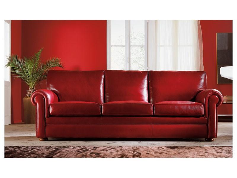 Oregon, Sofá tapizado, almohadas grandes, de estilo clásico