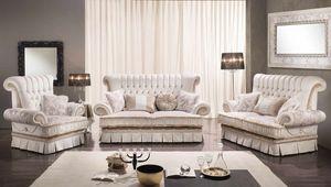 QUEEN, Sofá de estilo clásico con 2 o 3 asientos