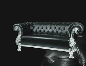 Queen cuero, Sofá tallado, estilo clásico contemporáneo