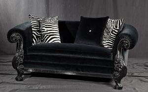 Queen negro tela, Sofá de estilo nuevo barroco, de madera lacada en negro tallado
